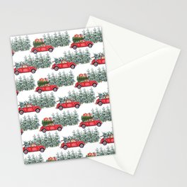 Corgis in car in winter forest Stationery Cards