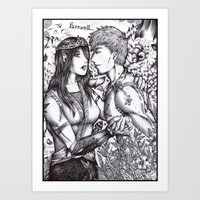 arya Art Prints featuring Arya and Eragon by Furiarossa
