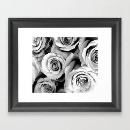 Black and White Roses Framed Art Print