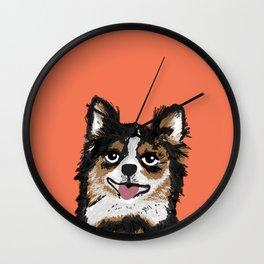Chihuahua love kids fur baby pet friendly pet portraits dog breed art print pillow decor dog person  Wall Clock