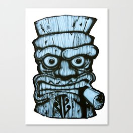 Tiki all made up in blue Canvas Print