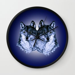 Season of the Wolf - Duet in Sapphire Wall Clock