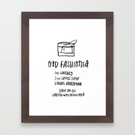 Old Fashioned Illustrated Cocktail Recipe Framed Art Print