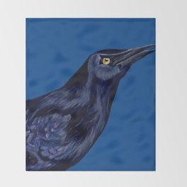 Male Grackle Throw Blanket