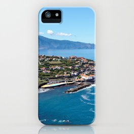 Aerial photograph of a seaside Madeira community iPhone Case