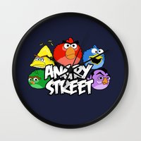 sesame street Wall Clocks featuring Angry Street: Angry Birds and Sesame Street Mashup by Olechka