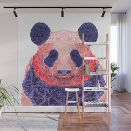 Don't Be Scared To Be Different If You're Already Rare (Panda Animal Painting Stippled Pop Art) Wall Mural