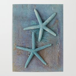 Turquoise Starfish on textured Background Poster