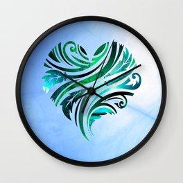 Cheerful Heart (blue-green) Wall Clock