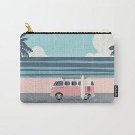 Surfer Graphic Beach Palm-Tree Camper-Van Art Carry-All Pouch