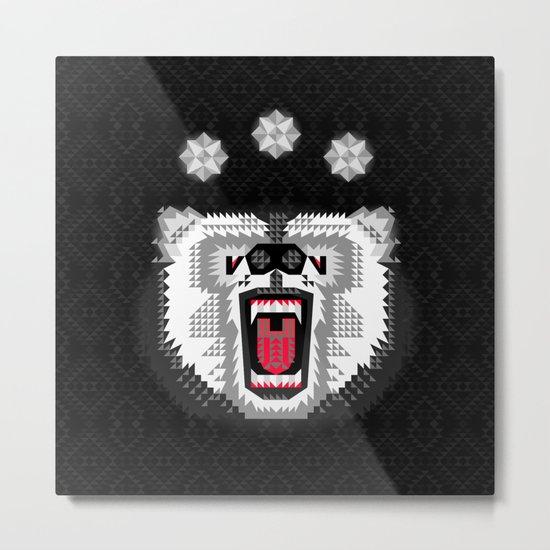 Polar Bear Geometric Metal Print