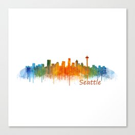 Seattle Washington City Watercolor Skyline Hq v2 Canvas Print