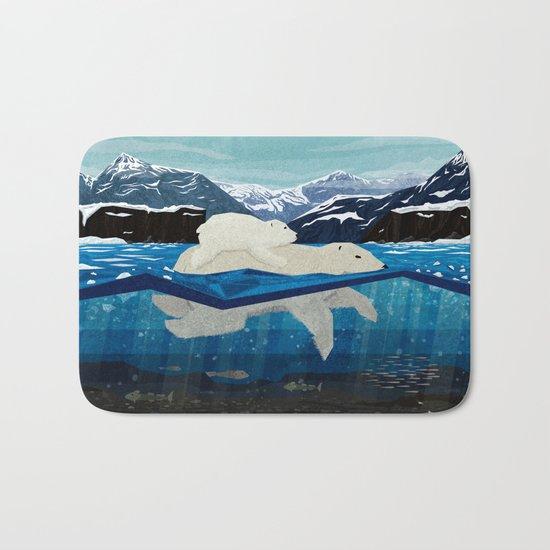 Polar bear mom and Cub Swimming  Bath Mat