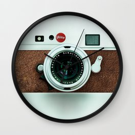 Retro vintage leather camera Wall Clock