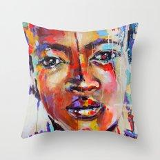 Closer - portrait of a beautiful woman Throw Pillow