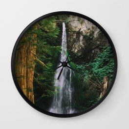 waterfall in Washington forest Wall Clock