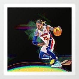 Detroit Basketball Star D. Rose / Slam Dunk / Art Print Art Print