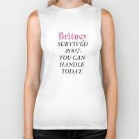 britney Biker Tanks featuring Britney Survived, Britney. by eriicms