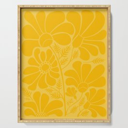 Yellow Floral Serving Tray