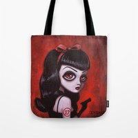 tina Tote Bags featuring 7-Tina by Dienzo Art