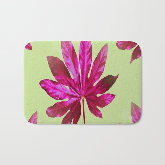 Large pink leaf on a olive green background - beautiful colors Bath Mat
