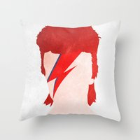 aladdin Throw Pillows featuring Aladdin Sane by Vito Spatafora