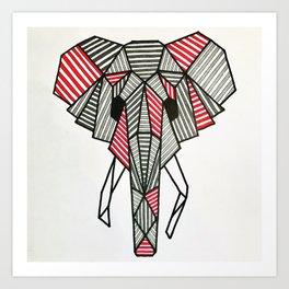 GEOMETRIC ELEPHANT Art Print