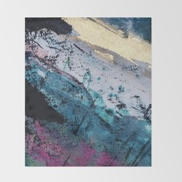 Twilight [2]: a beautiful, abstract watercolor + mixed-media piece in blue, gold, purple, + pink Throw Blanket