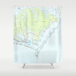 Cape Lookout National Seashore & Morehead City Map Shower Curtain