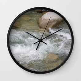 River in Japan - Stones in Water - Rocks in Wild Water - Wall Art Photography Wall Clock