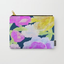Dark Romantic Flowers Oil Floral Painting on Navy Carry-All Pouch