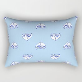 Best Friend Galentine's Day Pinky Promise Pattern in Blue Rectangular Pillow