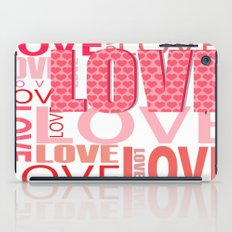 The Word Love In Red With Hearts iPad Case