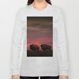 Two American Buffalo Bison at Sunset Long Sleeve T-shirt