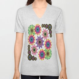 Vibrant Abstract Floral Pattern Unisex V-Neck