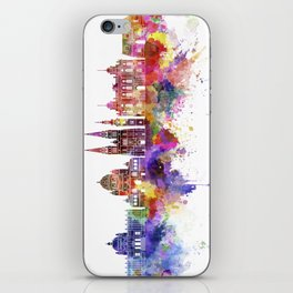 Zagreb skyline in watercolor background iPhone Skin
