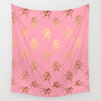 bisexual Wall Tapestries featuring Golden Unicorns on rose quartz pattern by Better HOME
