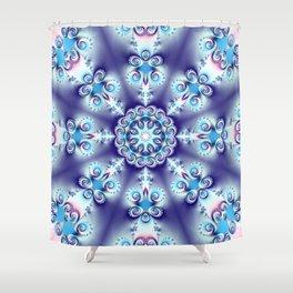 Elegant swirly kaleidoscope design in soft blue, pink, purple and cream Shower Curtain