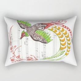 Pheasant (Pheasant and cherry blossoms on sheet music) Rectangular Pillow