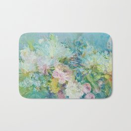 Abstract pastel spring floral Bath Mat