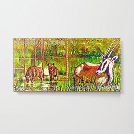 Oryx Beisa and Crocuta Trees Metal Print