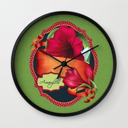 Tropical Amaryllis Wall Clock
