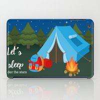 backpack iPad Cases featuring Camping blue tent by Juliana RW