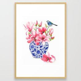 Magnolia chinoiserie vase Framed Art Print