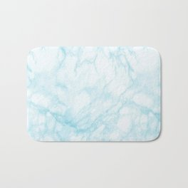 Elegant pastel blue white modern marble Bath Mat
