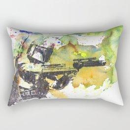 Boba Fett Firing off Green Color Rectangular Pillow