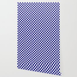 Navy Blue and White Large Check Wallpaper