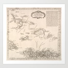 Vintage Map of The Turks and Caicos (1782) Art Print