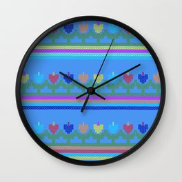 Childish Embroidered Flowers Wall Clock