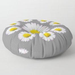 WHITE SHASTA DAISY FLOWERS  DECORATIVE GREY ART Floor Pillow